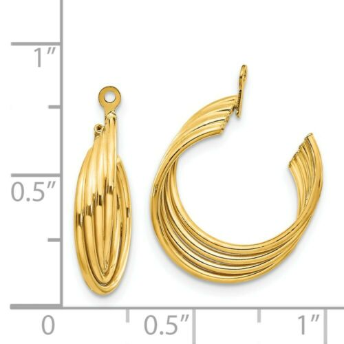 Details about  /14k 14kt Yellow Gold Polished Hoop Earring Jackets 21mm X 5mm