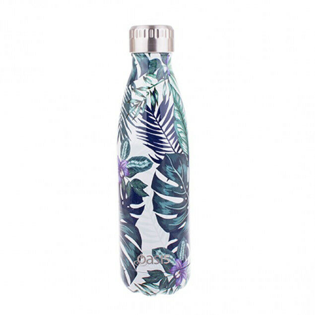 D.LINE Oasis S/S 500ml Double Wall Insulated Water Drink Bottle Tropical Paradis