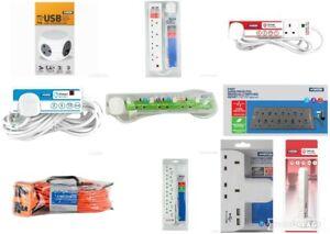 Statut Extension Lead Socket Câble électrique 2//3//4//6//8//10 Gang Way 2M//5M 13 Amp