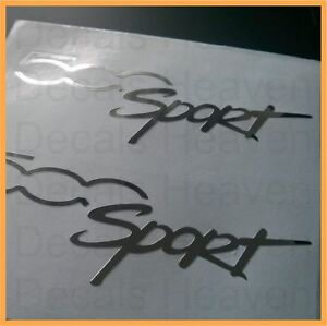 2x fiat 500 chrome sport logo decal stickers 500c abarth sporting 10cm 4 m1 ebay. Black Bedroom Furniture Sets. Home Design Ideas