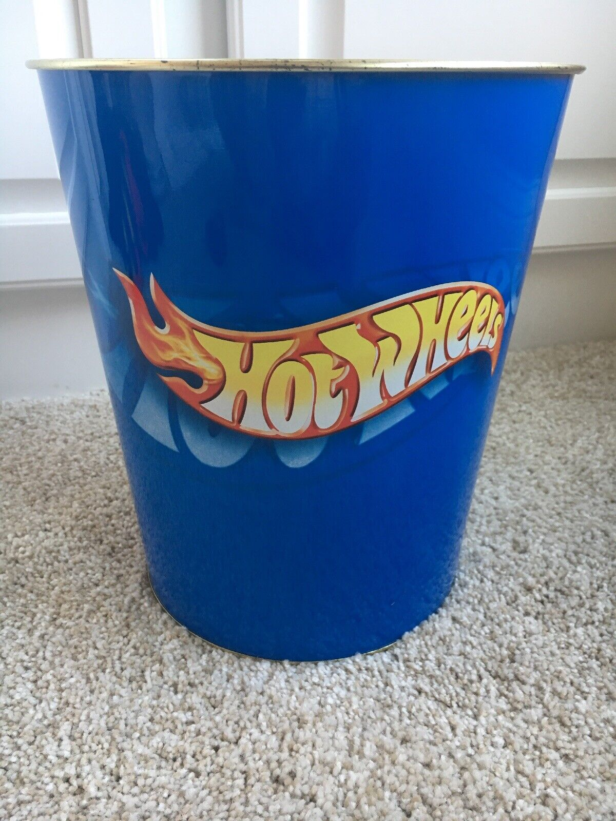 "Mattel Hot Wheels Metal Trash Can Waste Basket 10"" X 8.7"" Flames Logo Round Blue"