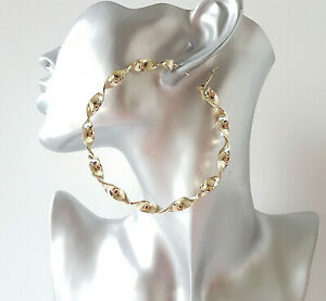 8cm big gold tone oversized chunky tube patterned earrings TOP QUALITY Stunning