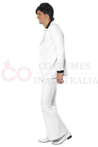 Mens 1970s 70s Disco Groovy Dancer Retro Costume White Purple Fever Party Suits