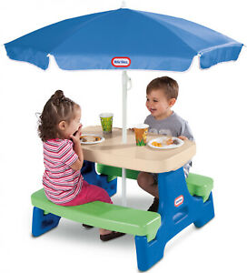 Play-Table-with-Umbrella-Outdoor-Picnic-Seat-Fun-Little-Tikes-Easy-Fold-amp-Store