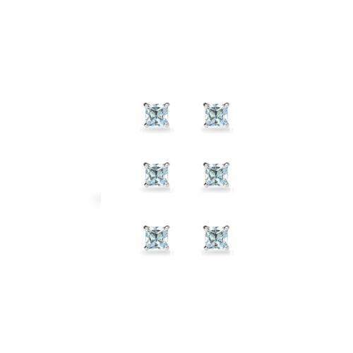 3-Paire Set Argent Sterling Topaze Bleue Princesse-Cut 4 mm Carré Clous D/'Oreilles
