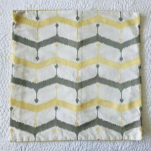 West Elm Leek Embroidered Chevron Lattice Pillow Cover 20 X20 Yellow Gray Ebay