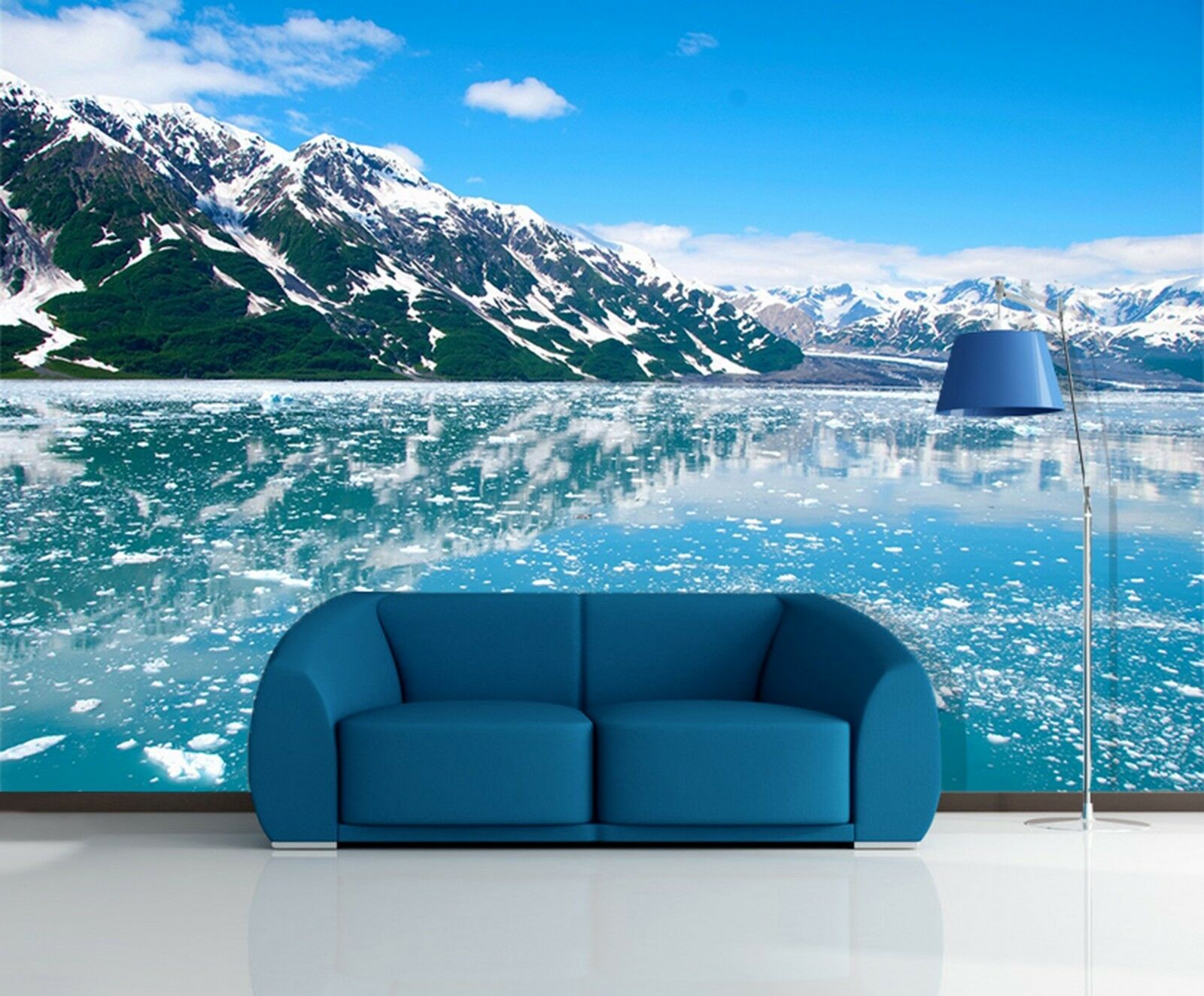 3D Snow Mountain lake Wall Paper wall Print Decal Wall Deco Indoor wall Mural