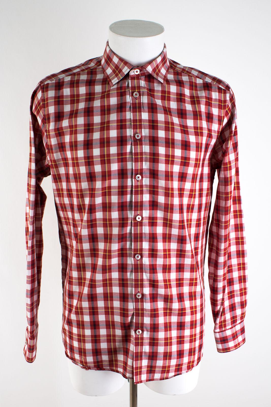 TIGER OF SWEDEN Hemd NEU Gr. 41 Slim Fit Baumwolle Freizeit Hemd Shirt Kariert