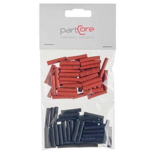 Schrumpfschlauch Set 50-teilig 4 x 25 mm rot schwarz partCore 110036