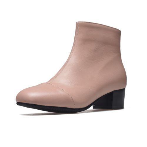 Femme Bout Carré Cuir Verni Talon Bloc Haut Top Zip Bottines Chaussures