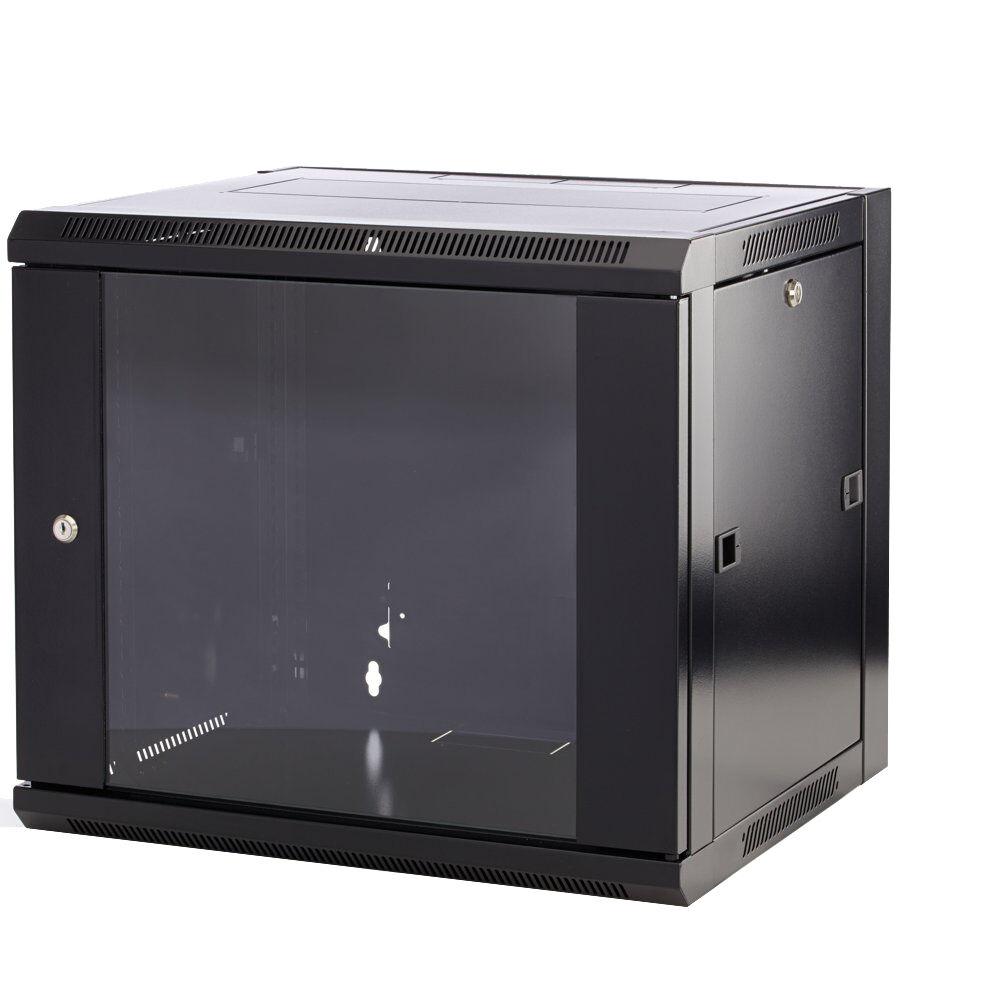 12u 19 450mm Deep Black Wall Mounted Data Cabinet /& 1U 24 Way Cat5e Patch Panel