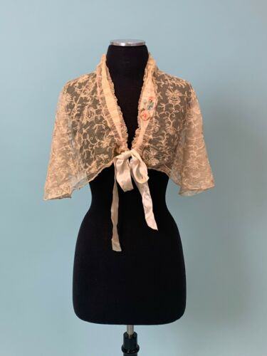 Antique Edwardian Silk Floral Embroidered Lace Sh… - image 1