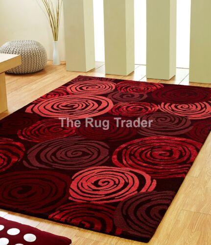 Unique Rose Rouge De Luxe laine /& viscose Tapis en tailles diverses