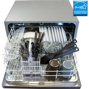 Countertop Stainless Steel Silver Dishwasher Portable