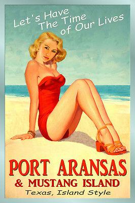 PORT ARANSAS Texas Original Gulf Travel Poster Time of Our Lives PinUp Art165