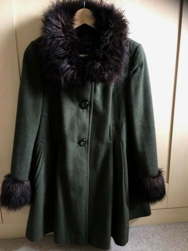 Vintage Topshop Mix 8 Coat Fur Faux Swing Cuffs Collar Luxury Green Size Wool TdqFrwdC