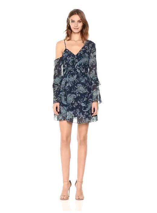 Keepsake The Label Woherren Go with It Paisley Print Asymmetrical Mini Dress,SM