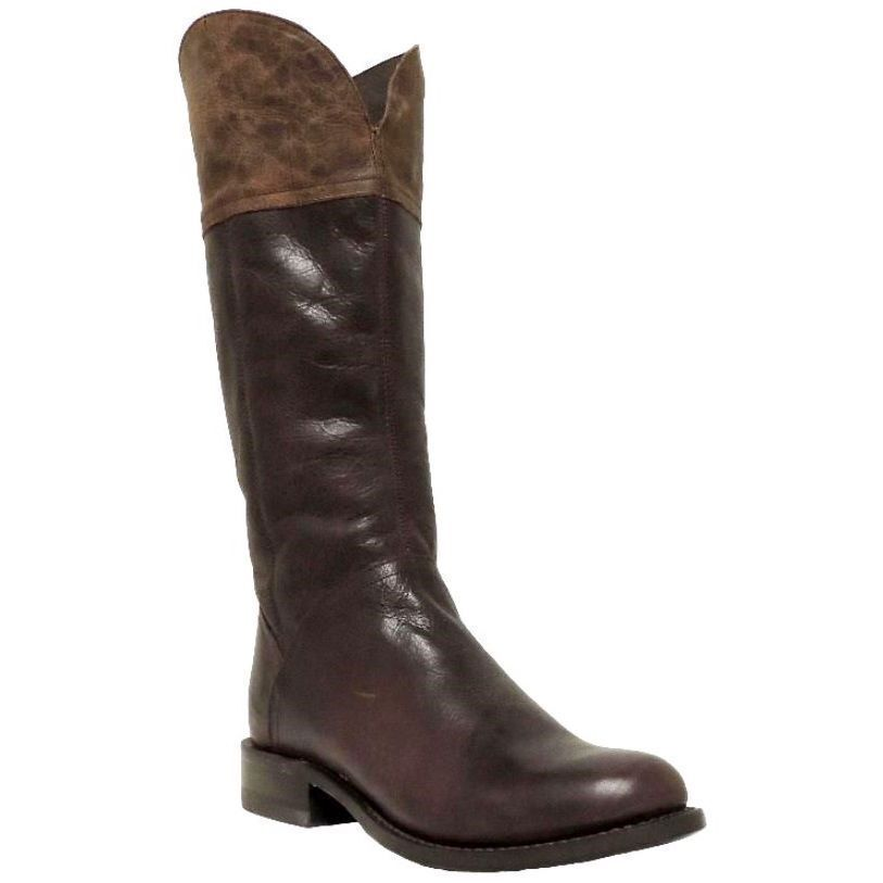 LADIES STETSON DARK BROWN WALNUT TWO-TONED RIDING FASHION BOOTS 12-021-7611-0372