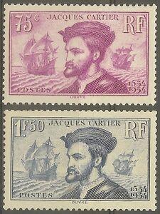 FRANCE-STAMP-TIMBRE-N-296-297-034-CARTIER-BATEAU-CANADA-1934-034-NEUF-xx-TB-B470