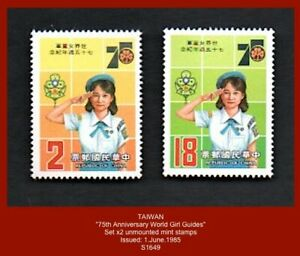 """TAIWAN 1985 - """"75th Anniv. World Girl Guides"""" - set x2 unmounted mint stamps"""