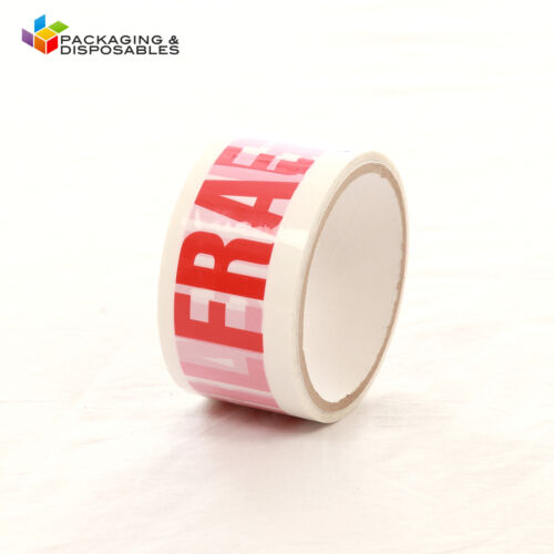 12 ROLLS OF FRAGILE PRINTED PACKING PARCEL TAPE 50mm x 66m
