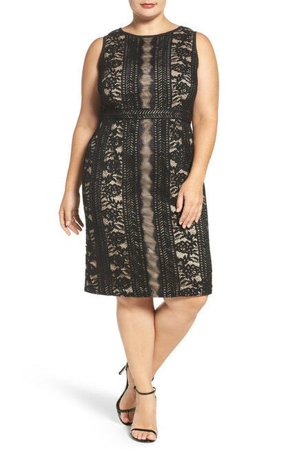 Adrianna Papell Women's Embroidered Directional Striped Lace Dress.SZ 22W
