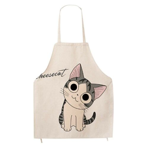 Cute Cat Cartoon Apron for Women Japanese Fun Cotton Kitchen Apron Smile Kitty