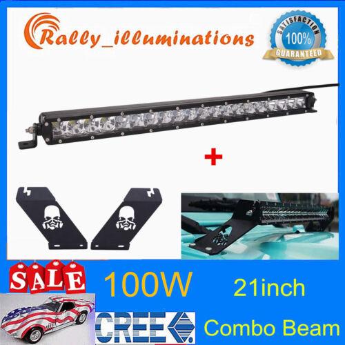 SLIM 21inch 100W LED Light Bar+Hood Mounting Bracket For 07-now Jeep Wrangler JK