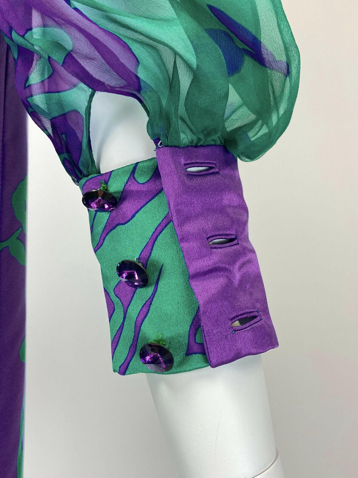 Designer Vintage 80s Silk Dress PAULINE TRIGERE S… - image 8