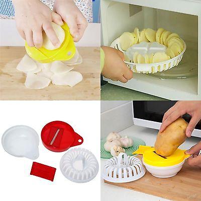 Microwave Fruit Vegetable Potato Crisp Chip Slicer Snack Maker DIY Tray Set