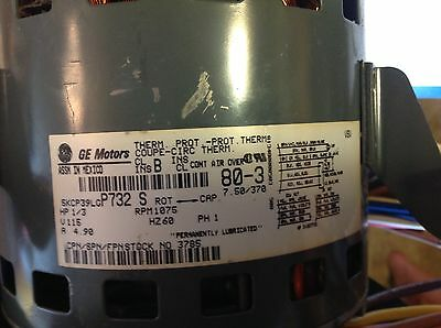 5KCP39KGA370 Upgraded Replacement for GE 1//3 HP 110 115 Volt 1075 RPM
