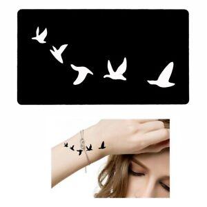 Henna-Tattoo-Schablone-Airbrush-Stencil-Doevme-Selbstklebend-Zugvoegel