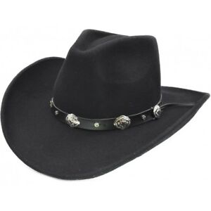 71a747031 Details about Major Wear Black 100% Wool Felt Cowboy Hat with buckle band 4  Sizes fast post