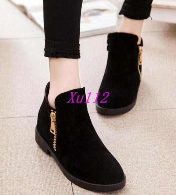 Womens Girls Ankle Boot Warm Faux Suede Side Zipper Round Toe Casual Shoes Size