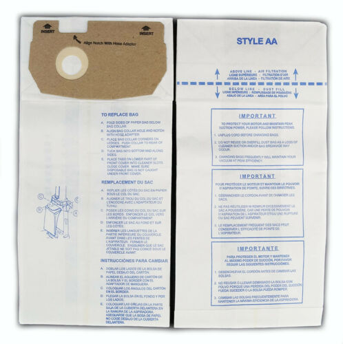 Eureka Style AA Whirlwind Micro Allergen Vacuum Cleaner Bags by DVC Made in USA