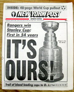 Best 1994 NY Post newspaper RANGERS WIN Stanley Cup NHL ICE HOCKEY CHAMPIONSHIP