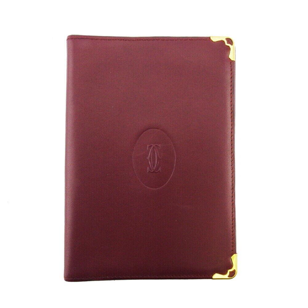 Cartier passport cover mast line Bordeaux leather Auth used L3313