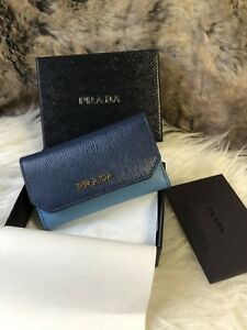 fa03aa93a02c46 NWT AUTHENTIC Prada Ladies Key Holder Case In Dark & Light Blue ...