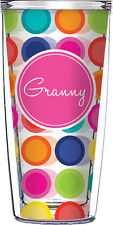 Signature Tumblers Granny Multi Color Clear 16 oz. With Lid and Straw