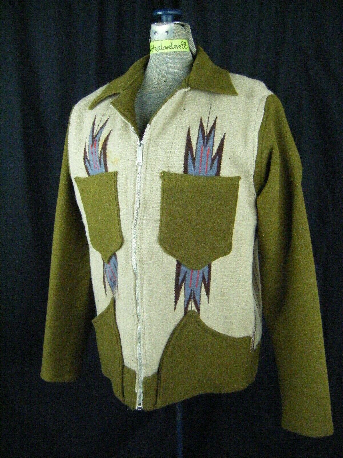 Vintage Chimayo Blanket Men Olive Green/Taupe Jac… - image 1