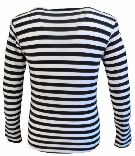 Mens Retro Mod 60s Indie Black /& White Cotton Long Sleeved T Shirt