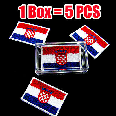 CROATIA Flag Iron-On Biker Patch Croatian Military Emblem Red  Border