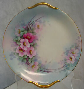 "VINTAGE HANDPAINTED PLATTER TRAY DOGWOOD 10 1/2"" BEAUTIFUL VICTORIAN SHABBY"
