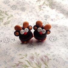 reindeer rudolf earrings Christmas Xmas Studs Festive Party Cute fimo
