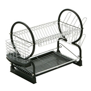 Image is loading Deluxe-Black-2-Tier-Chrome-Kitchen-Drip-Dish-  sc 1 st  eBay & Deluxe Black 2 Tier Chrome Kitchen Drip Dish Drainer Plates Rack ...