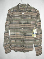 Women's Shaver Lake Long Sleeve Brown Striped Tailored Blouse Top - Size S -