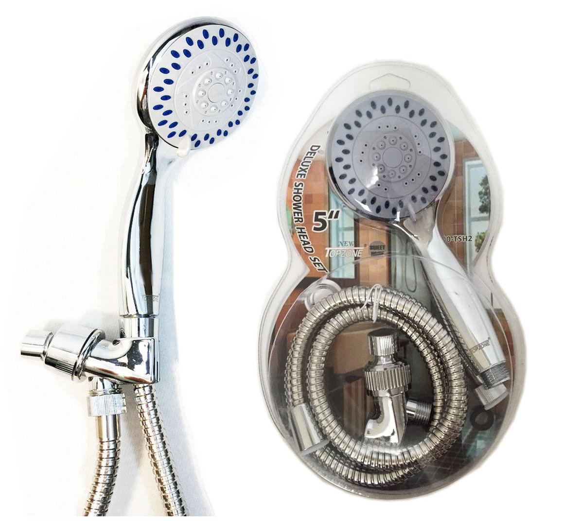 5 Way Water Saving Multi Function Bathroom Hand Held Shower Hose Head Chrome
