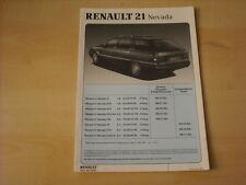50601) Renault R21 Nevada Preise & Extras Prospekt 06/1990