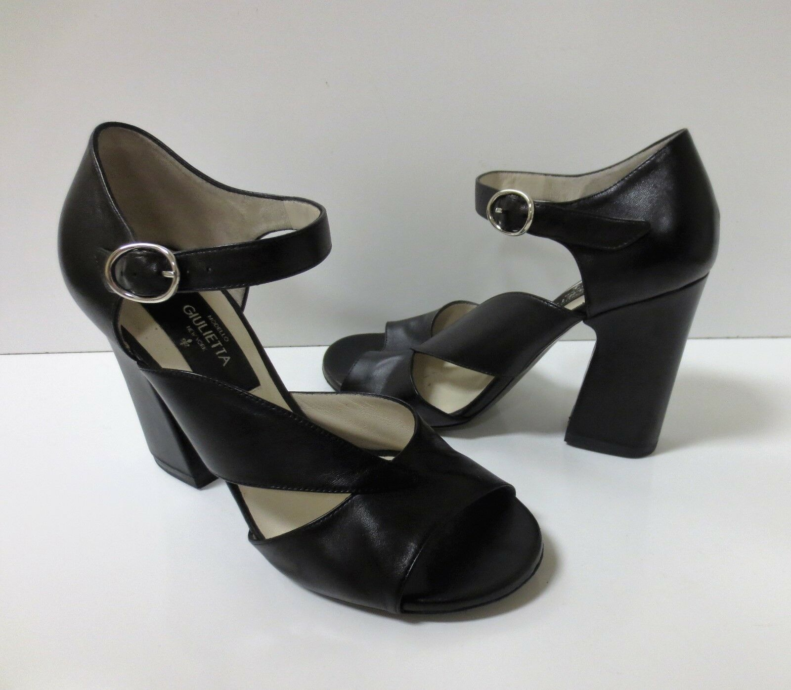 MODELLO GIULIETTA Black Leather Strappy Sandals High Heels shoes 37 MINT COND