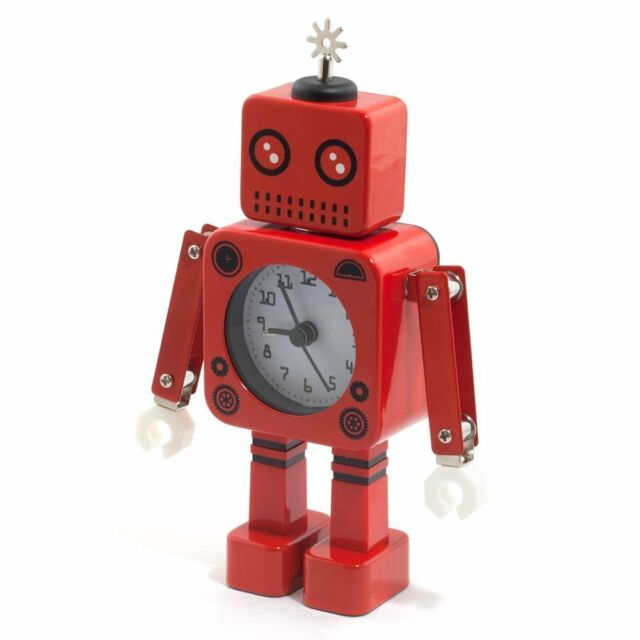 Robot Alarm Clock - Red Poseable Robotic Arms